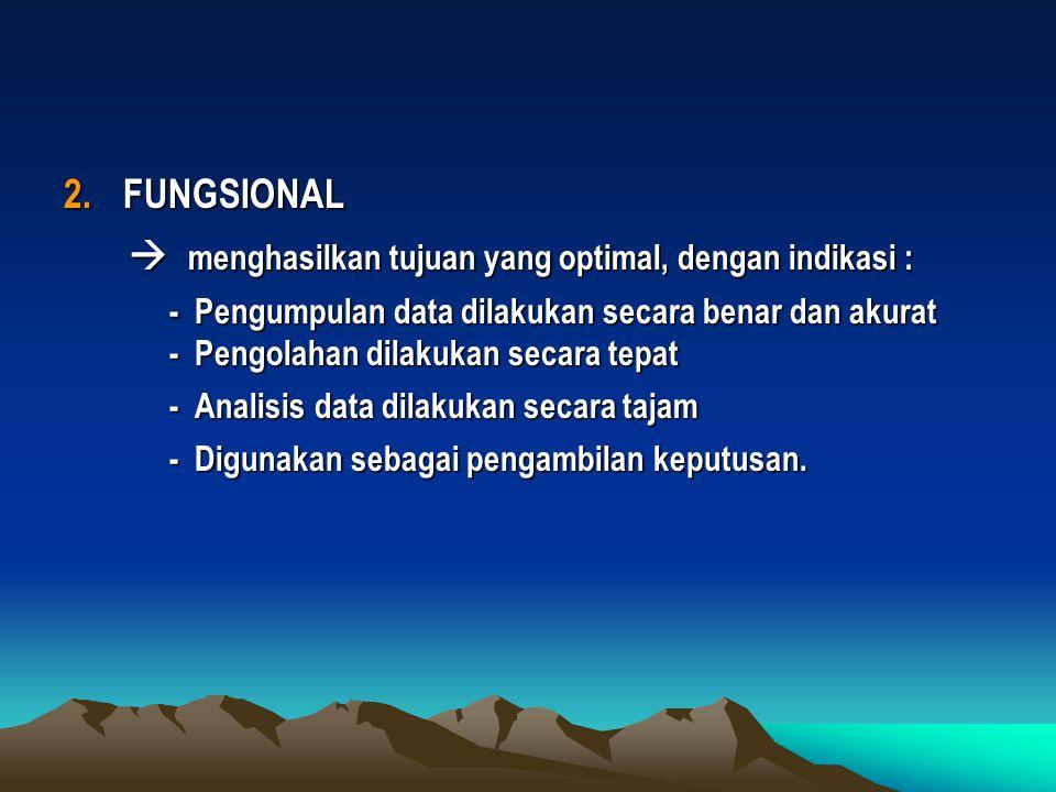 2.FUNGSIONAL  menghasilkan tujuan yang optimal, dengan indikasi :  menghasilkan tujuan yang optimal, dengan indikasi : - Pengumpulan data dilakukan