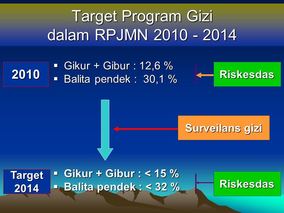 Target Program Gizi dalam RPJMN 2010 - 2014 Riskesdas  Gikur + Gibur : 12,6 %  Balita pendek : 30,1 %  Gikur + Gibur : < 15 %  Balita pendek : < 3