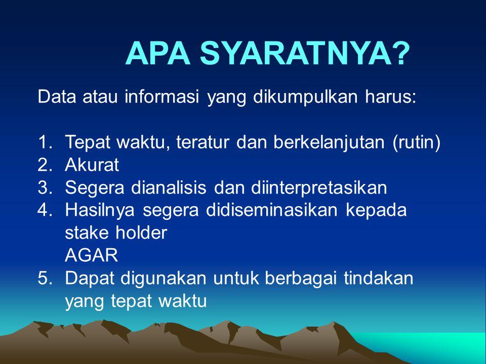 Data atau informasi yang dikumpulkan harus: 1.Tepat waktu, teratur dan berkelanjutan (rutin) 2.Akurat 3.Segera dianalisis dan diinterpretasikan 4.Hasi