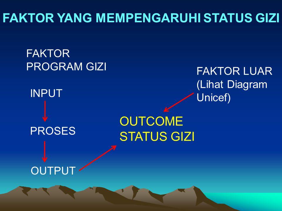 FAKTOR YANG MEMPENGARUHI STATUS GIZI OUTCOME STATUS GIZI FAKTOR PROGRAM GIZI INPUT PROSES OUTPUT FAKTOR LUAR (Lihat Diagram Unicef)