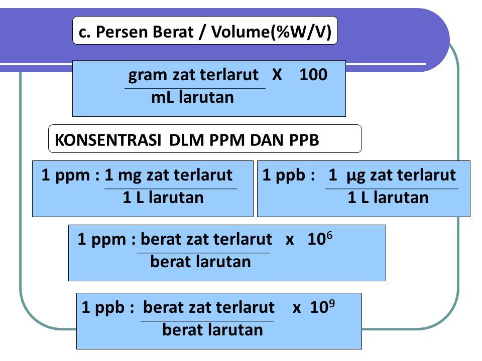 c. Persen Berat / Volume(%W/V) gram zat terlarut X 100 mL larutan KONSENTRASI DLM PPM DAN PPB 1 ppm : 1 mg zat terlarut 1 L larutan 1 ppm : berat zat