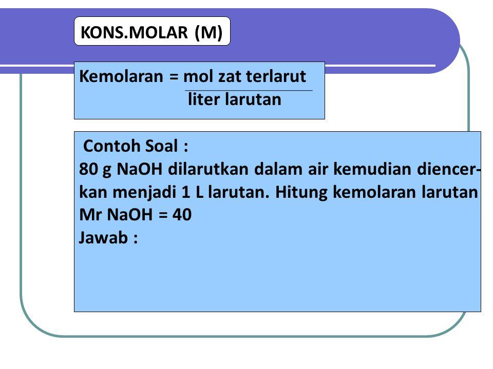 KONS.MOLAR (M) Kemolaran = mol zat terlarut liter larutan Contoh Soal : 80 g NaOH dilarutkan dalam air kemudian diencer- kan menjadi 1 L larutan. Hitu