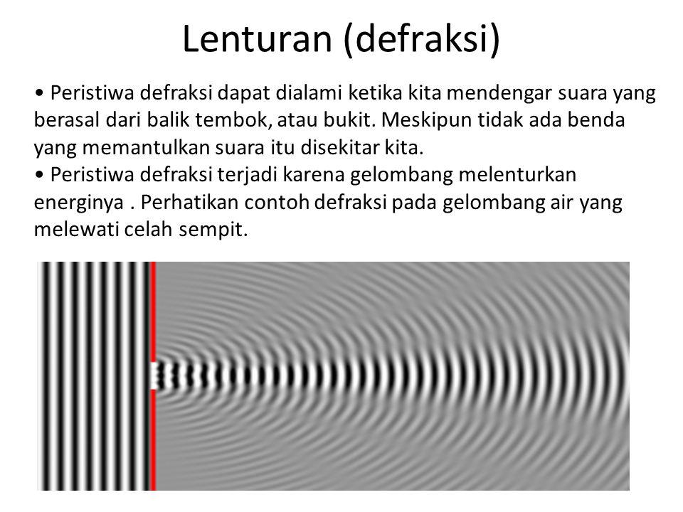 Lenturan (defraksi) Peristiwa defraksi dapat dialami ketika kita mendengar suara yang berasal dari balik tembok, atau bukit.