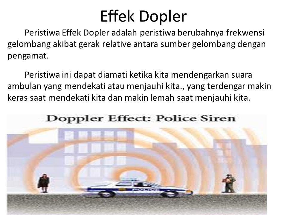 Effek Dopler Peristiwa Effek Dopler adalah peristiwa berubahnya frekwensi gelombang akibat gerak relative antara sumber gelombang dengan pengamat.