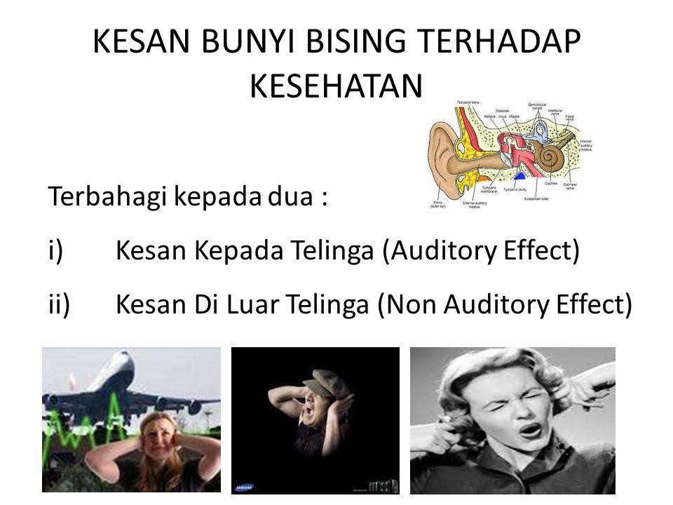 KESAN BUNYI BISING TERHADAP KESEHATAN Terbahagi kepada dua : i)Kesan Kepada Telinga (Auditory Effect) ii)Kesan Di Luar Telinga (Non Auditory Effect)