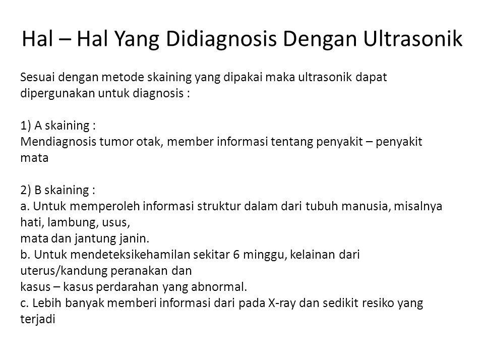 Hal – Hal Yang Didiagnosis Dengan Ultrasonik Sesuai dengan metode skaining yang dipakai maka ultrasonik dapat dipergunakan untuk diagnosis : 1) A skaining : Mendiagnosis tumor otak, member informasi tentang penyakit – penyakit mata 2) B skaining : a.