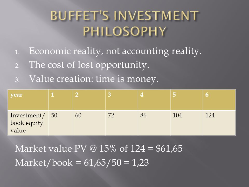 1. Economic reality, not accounting reality. 2. The cost of lost opportunity. 3. Value creation: time is money. Market value PV @ 15% of 124 = $61,65