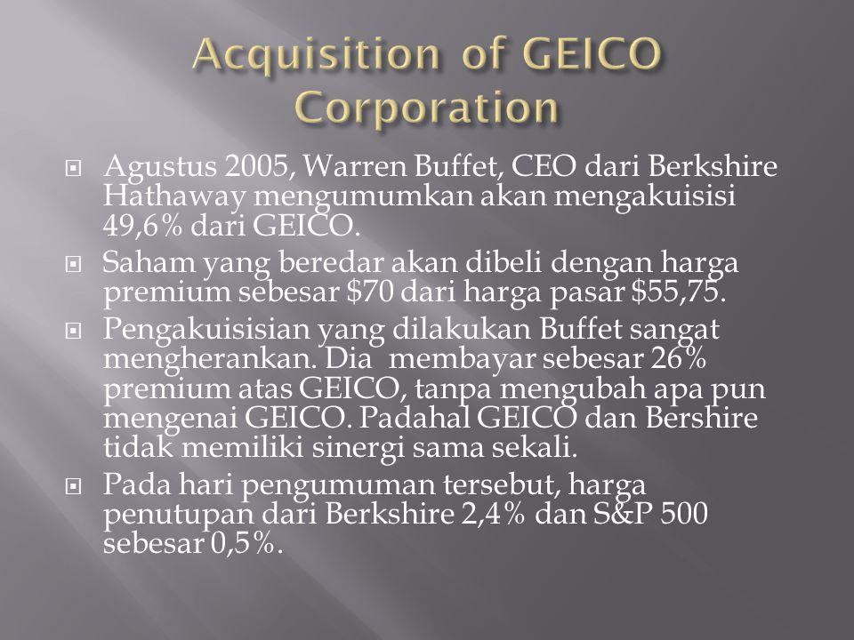  Agustus 2005, Warren Buffet, CEO dari Berkshire Hathaway mengumumkan akan mengakuisisi 49,6% dari GEICO.  Saham yang beredar akan dibeli dengan har