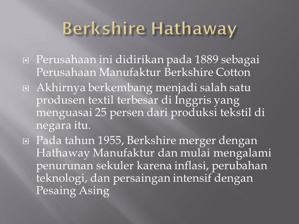  Perusahaan ini didirikan pada 1889 sebagai Perusahaan Manufaktur Berkshire Cotton  Akhirnya berkembang menjadi salah satu produsen textil terbesar