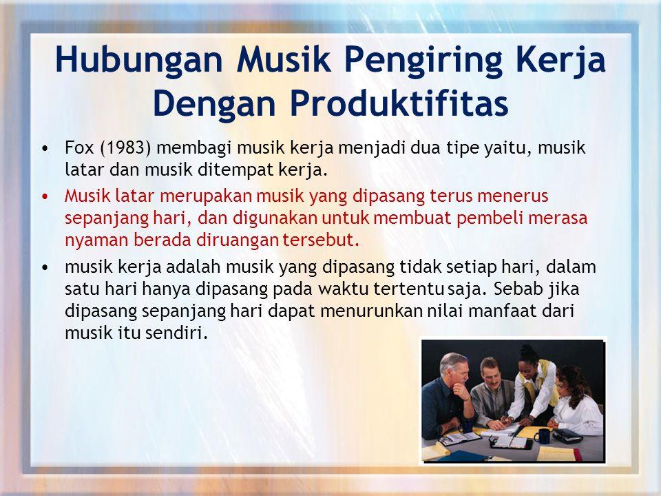 Hubungan Musik Pengiring Kerja Dengan Produktifitas Fox (1983) membagi musik kerja menjadi dua tipe yaitu, musik latar dan musik ditempat kerja.