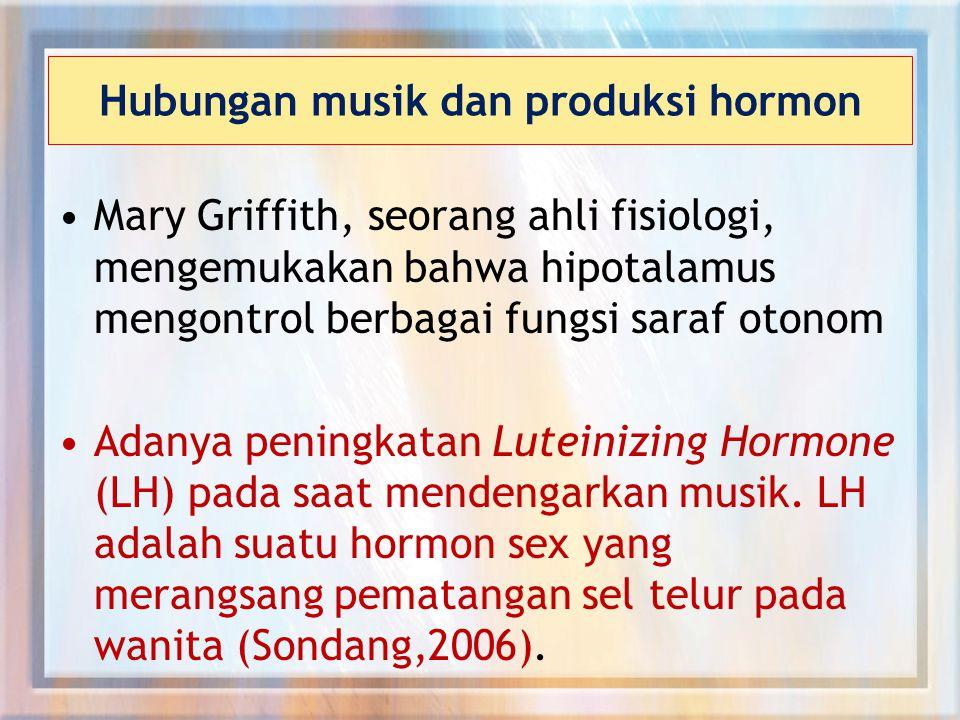 Hubungan musik dan produksi hormon Mary Griffith, seorang ahli fisiologi, mengemukakan bahwa hipotalamus mengontrol berbagai fungsi saraf otonom Adanya peningkatan Luteinizing Hormone (LH) pada saat mendengarkan musik.