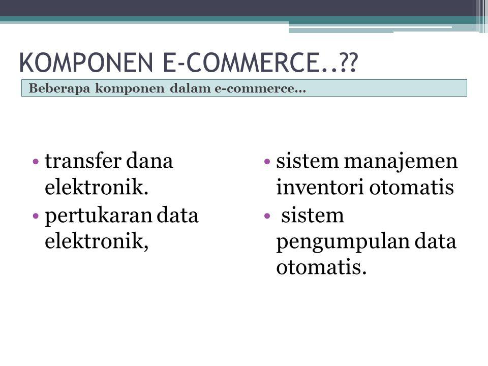 E-COMMERCE sebagai aplikasi dan penerapan dari e-bisnis (e- business) transaksi komersial, seperti: transfer dana secara elektronik, SCM (supply chain management), e- pemasaran (e-marketing), atau pemasaran online (online marketing), pemrosesan transaksi online (online transaction processing), pertukaran data elektronik (electronic data interchange /EDI), dll.