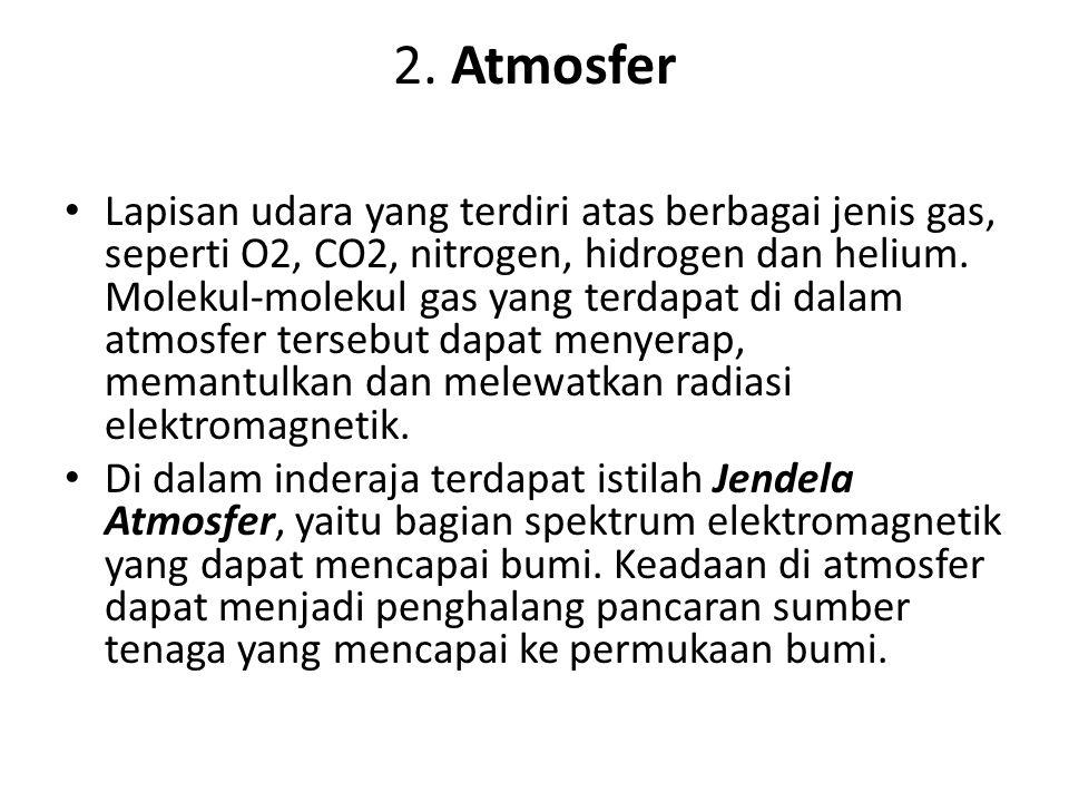 2. Atmosfer Lapisan udara yang terdiri atas berbagai jenis gas, seperti O2, CO2, nitrogen, hidrogen dan helium. Molekul-molekul gas yang terdapat di d