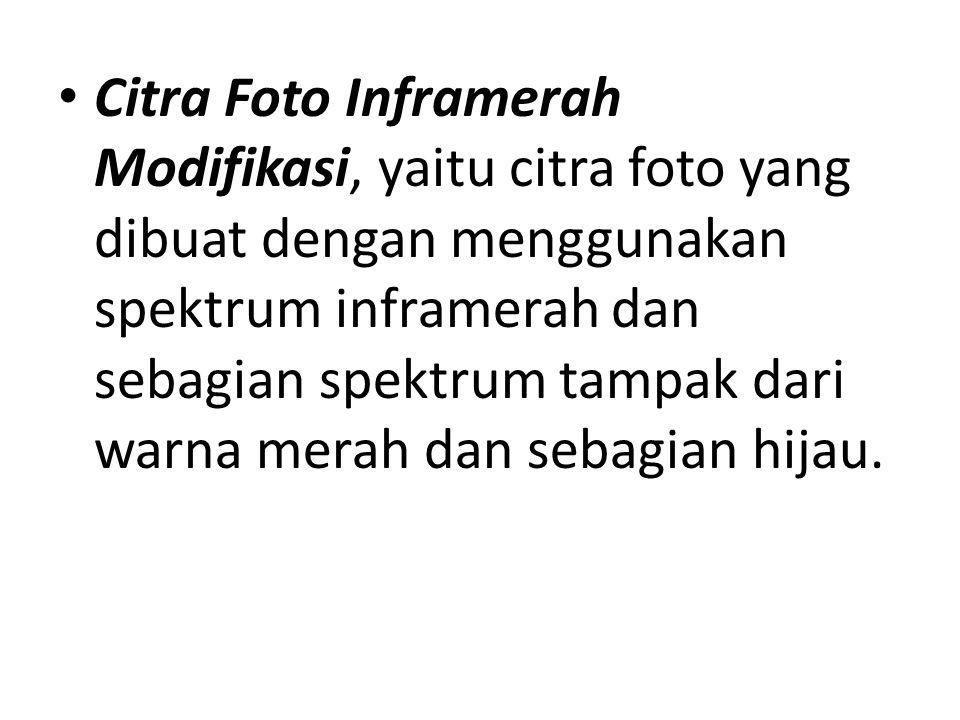 Citra Foto Inframerah Modifikasi, yaitu citra foto yang dibuat dengan menggunakan spektrum inframerah dan sebagian spektrum tampak dari warna merah dan sebagian hijau.