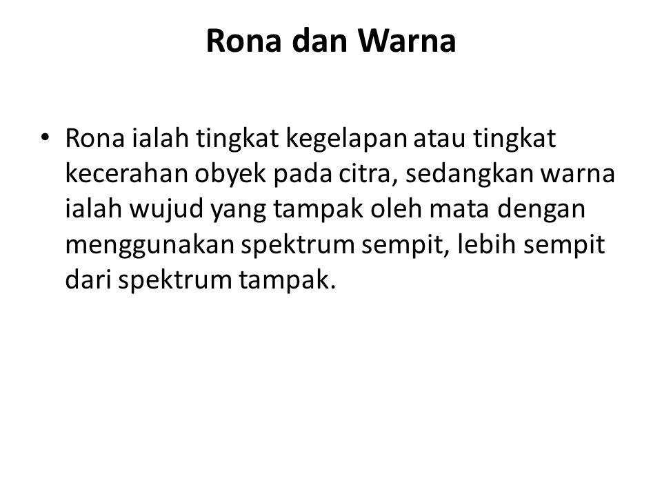 Rona dan Warna Rona ialah tingkat kegelapan atau tingkat kecerahan obyek pada citra, sedangkan warna ialah wujud yang tampak oleh mata dengan menggunakan spektrum sempit, lebih sempit dari spektrum tampak.