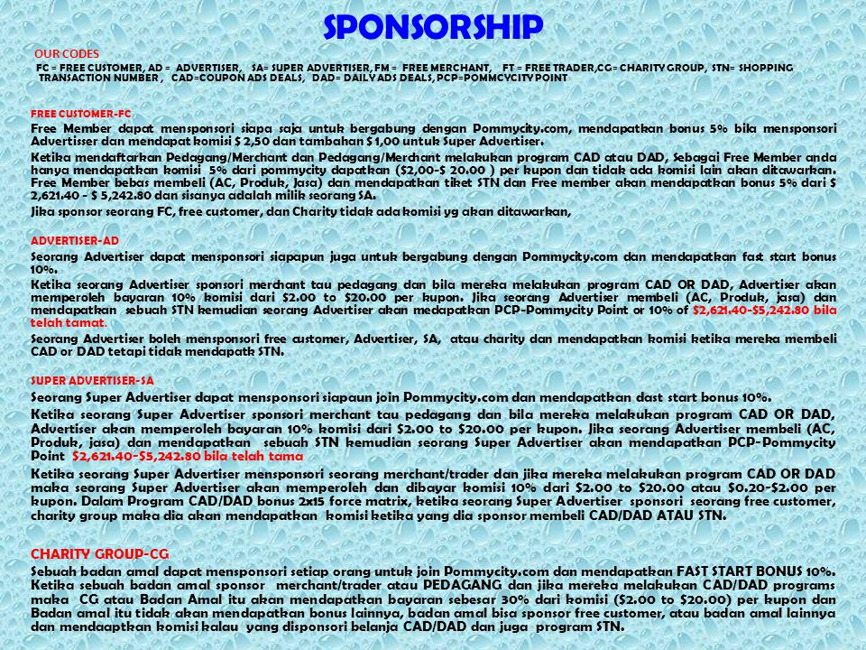 SPONSORSHIP OUR CODES FC = FREE CUSTOMER, AD = ADVERTISER, SA= SUPER ADVERTISER, FM = FREE MERCHANT, FT = FREE TRADER,CG= CHARITY GROUP, STN= SHOPPING TRANSACTION NUMBER, CAD=COUPON ADS DEALS, DAD= DAILY ADS DEALS, PCP=POMMCYCITY POINT FREE CUSTOMER-FC Free Member dapat mensponsori siapa saja untuk bergabung dengan Pommycity.com, mendapatkan bonus 5% bila mensponsori Advertisser dan mendapat komisi $ 2,50 dan tambahan $ 1,00 untuk Super Advertiser.