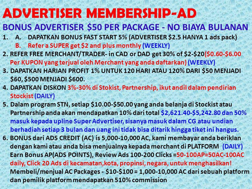 ADVERTISER MEMBERSHIP-AD BONUS ADVERTISER $50 PER PACKAGE - NO BIAYA BULANAN 1.A.DAPATKAN BONUS FAST START 5% (ADVERTISER $2.5 HANYA 1 ads pack) B.Ref