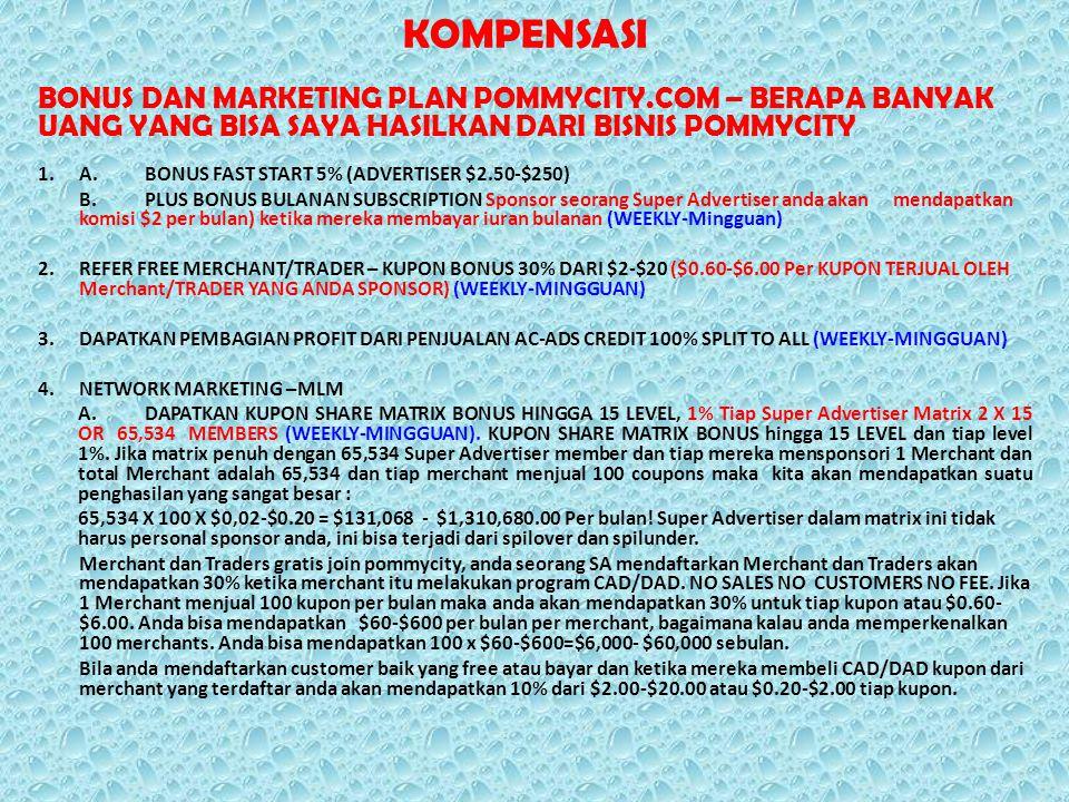 KOMPENSASI BONUS DAN MARKETING PLAN POMMYCITY.COM – BERAPA BANYAK UANG YANG BISA SAYA HASILKAN DARI BISNIS POMMYCITY 1.A.