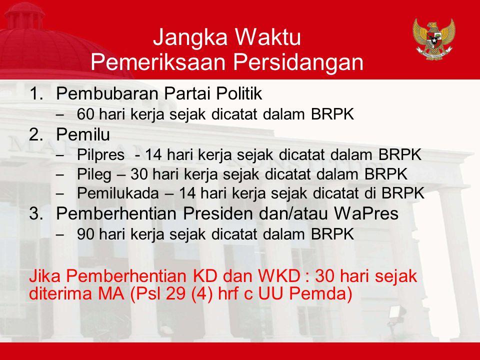 Jangka Waktu Pemeriksaan Persidangan 1.Pembubaran Partai Politik – 60 hari kerja sejak dicatat dalam BRPK 2.Pemilu – Pilpres - 14 hari kerja sejak dic