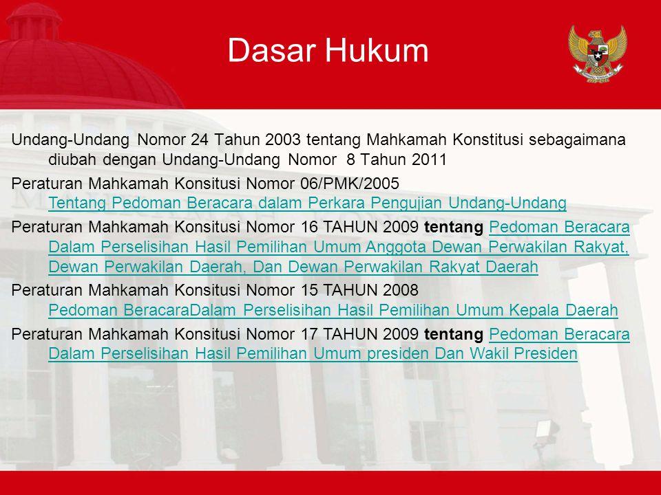 Dasar Hukum Undang-Undang Nomor 24 Tahun 2003 tentang Mahkamah Konstitusi sebagaimana diubah dengan Undang-Undang Nomor 8 Tahun 2011 Peraturan Mahkama