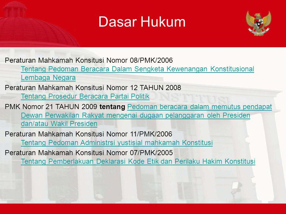 Dasar Hukum Peraturan Mahkamah Konsitusi Nomor 08/PMK/2006 Tentang Pedoman Beracara Dalam Sengketa Kewenangan Konstitusional Lembaga Negara Tentang Pe