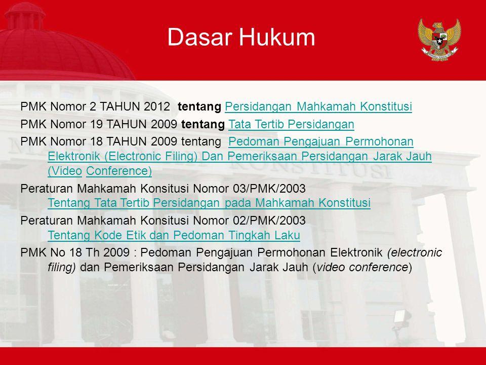 Dasar Hukum PMK Nomor 2 TAHUN 2012 tentang Persidangan Mahkamah KonstitusiPersidangan Mahkamah Konstitusi PMK Nomor 19 TAHUN 2009 tentang Tata Tertib
