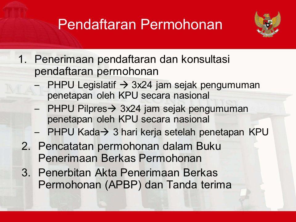 Registasi Permohonan 1.Pemeriksaan kelengkapan permohonan – Lengkap  Akta Registrasi Perkara (ARP) 2.Pencatatan dalam Buku Registrasi Perkara Konstitusi (BRPK) – Lengkap  dicatat dalam BRPK – PUU dan SKLN  Paling lambat 7 hari kerja sejak diterima APBP 3.Pemberitahuan kekuranglengkapan berkas permohonan – PUU dan SKLN  7 hari kerja – PHP Legislatif  1x24 jam – PHPU presiden  dalam tenggat 1x24 jam 4.Melengkapi berkas yang sudah diregistrasi – Tidak Lengkap  Akta Tidak Diregistrasi – Pengembalian berkas permohonan