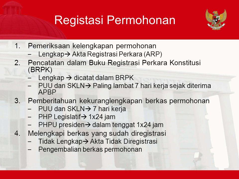 Registasi Permohonan 1.Pemeriksaan kelengkapan permohonan – Lengkap  Akta Registrasi Perkara (ARP) 2.Pencatatan dalam Buku Registrasi Perkara Konstit
