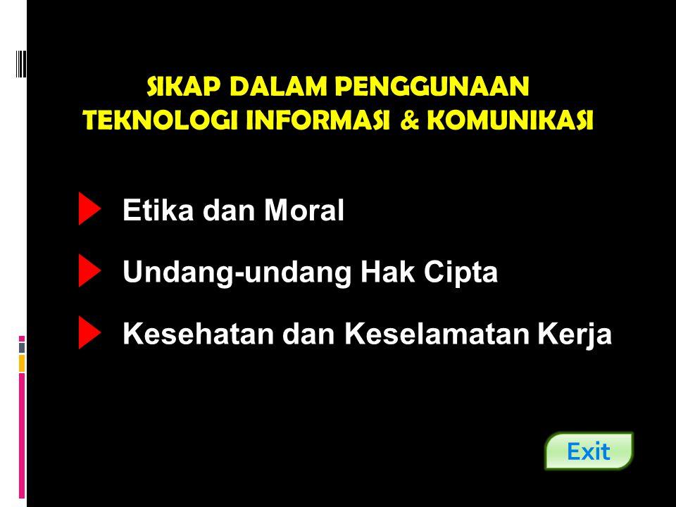 SIKAP DALAM PENGGUNAAN TEKNOLOGI INFORMASI & KOMUNIKASI Etika dan Moral Undang-undang Hak Cipta Kesehatan dan Keselamatan Kerja Exit