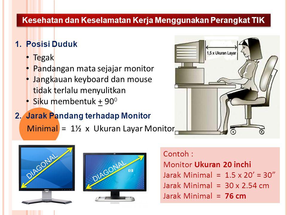 Kesehatan dan Keselamatan Kerja Menggunakan Perangkat TIK 1. Posisi Duduk Tegak Pandangan mata sejajar monitor Jangkauan keyboard dan mouse tidak terl