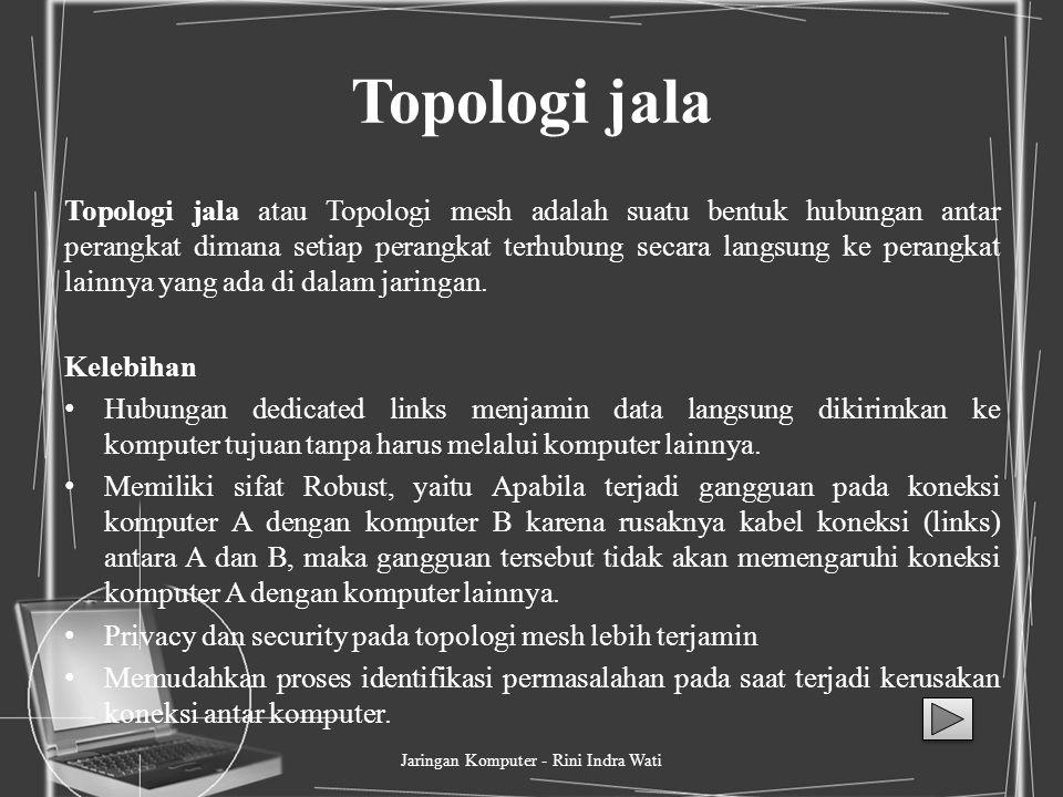 Topologi cincin Topologi cincin adalah topologi jaringan berbentuk rangkaian titik yang masing-masing terhubung ke dua titik lainnya, sedemikian sehin