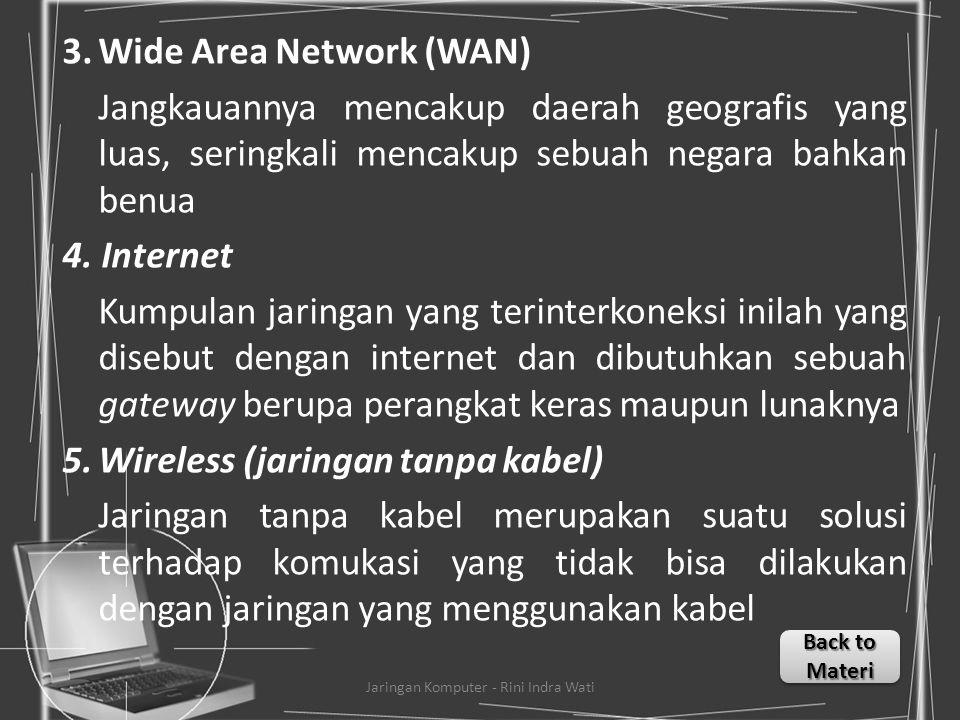 JENIS JARINGAN KOMPUTER 1.Local Area Network (LAN) Merupakan jaringan milik pribadi di dalam sebuah gedung atau kampus yang berukuran sampai beberapa