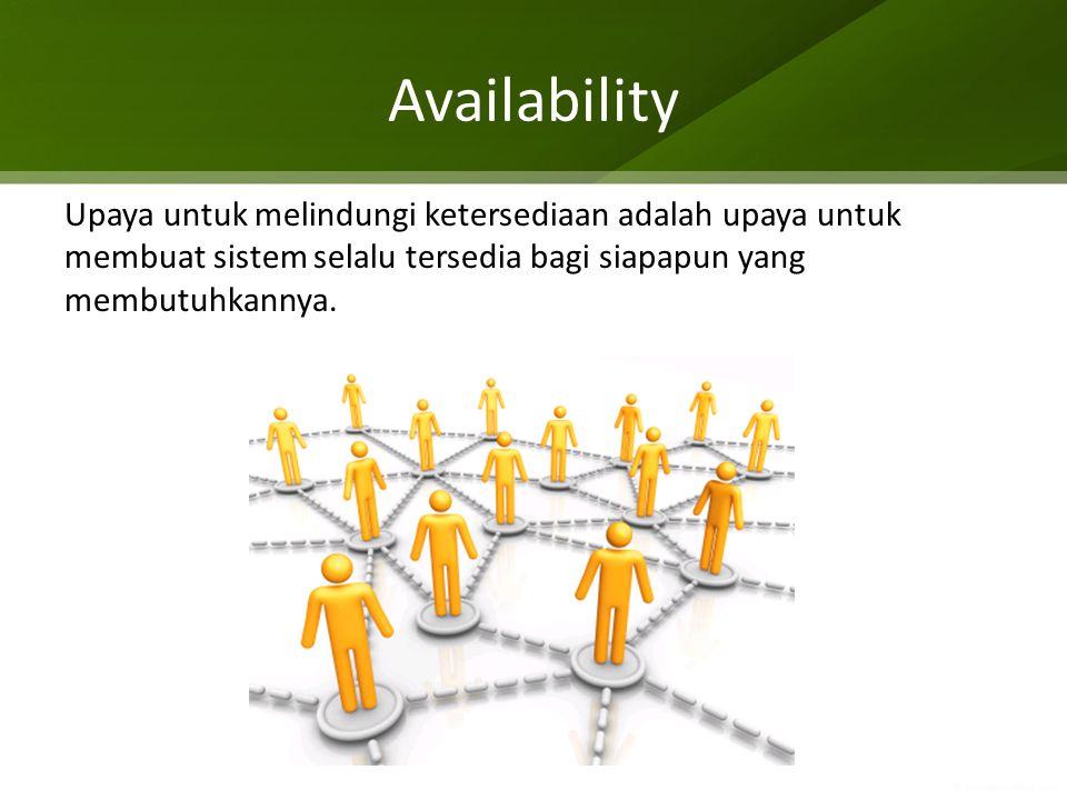 Availability High Availability (HA): Upaya untuk membuat sistem selalu menyala, dengan uptime > 99,9999%