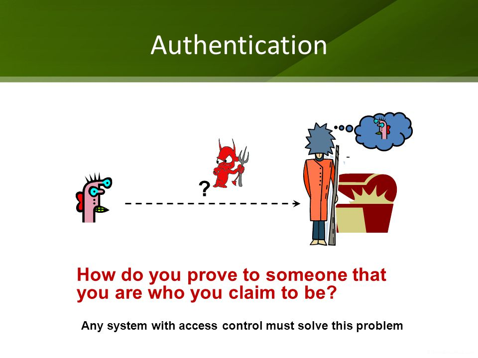 Authentication . How do you prove to someone that you are who you claim to be.