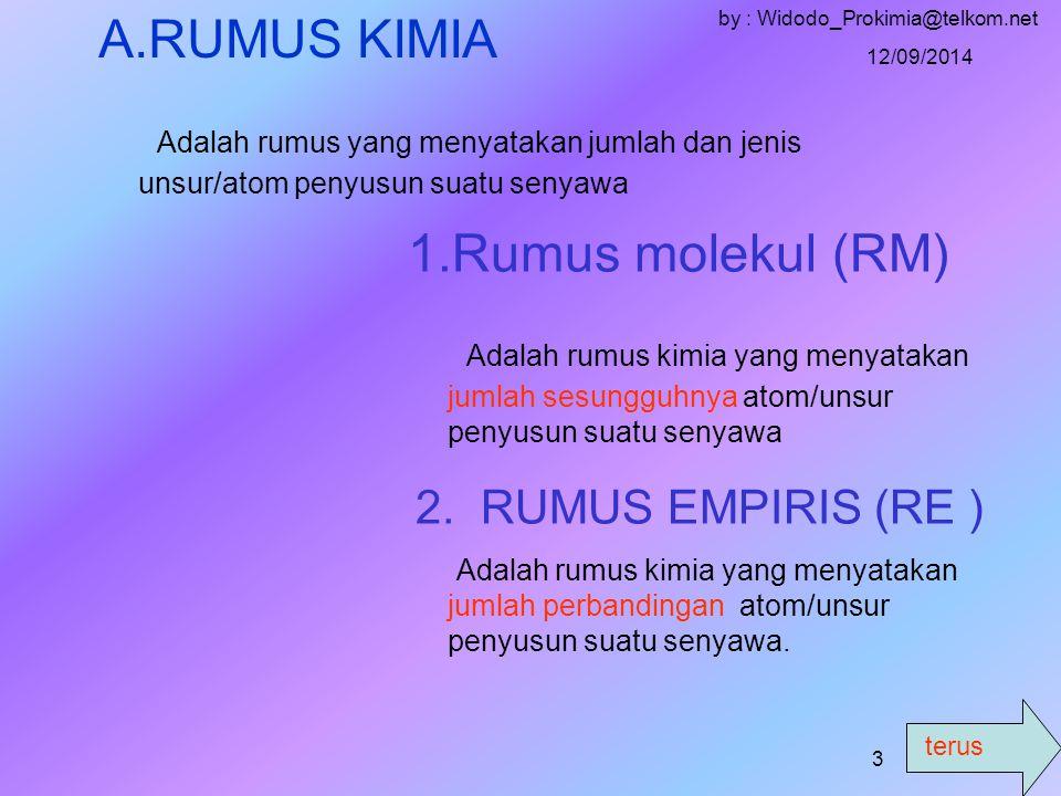 terus 12/09/2014 by : Widodo_Prokimia@telkom.net 2 MATERI POKOK A.RRUMUS KIMIA 1.