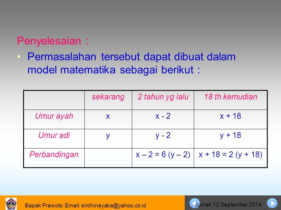 Bapak Prawoto Email: sirdhinayaka@yahoo.co.id Jumat, 12 September 2014 Penyelesaian : Permasalahan tersebut dapat dibuat dalam model matematika sebaga