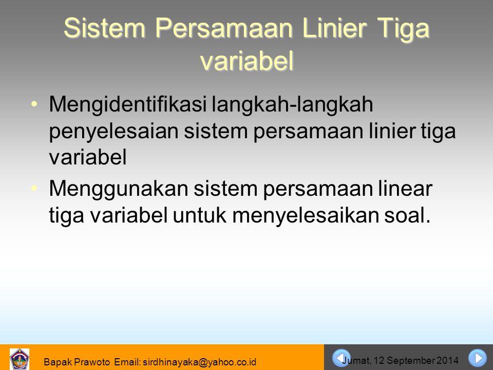 Bapak Prawoto Email: sirdhinayaka@yahoo.co.id Jumat, 12 September 2014 Sistem Persamaan Linier Tiga variabel Mengidentifikasi langkah-langkah penyeles