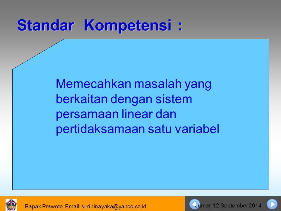 Bapak Prawoto Email: sirdhinayaka@yahoo.co.id Jumat, 12 September 2014 Cara Menyelesaikan Sistem Persamaan Linear Dua Variabel CCara Substitusi CCara Eliminasi CCara Eliminasi dan Substitusi