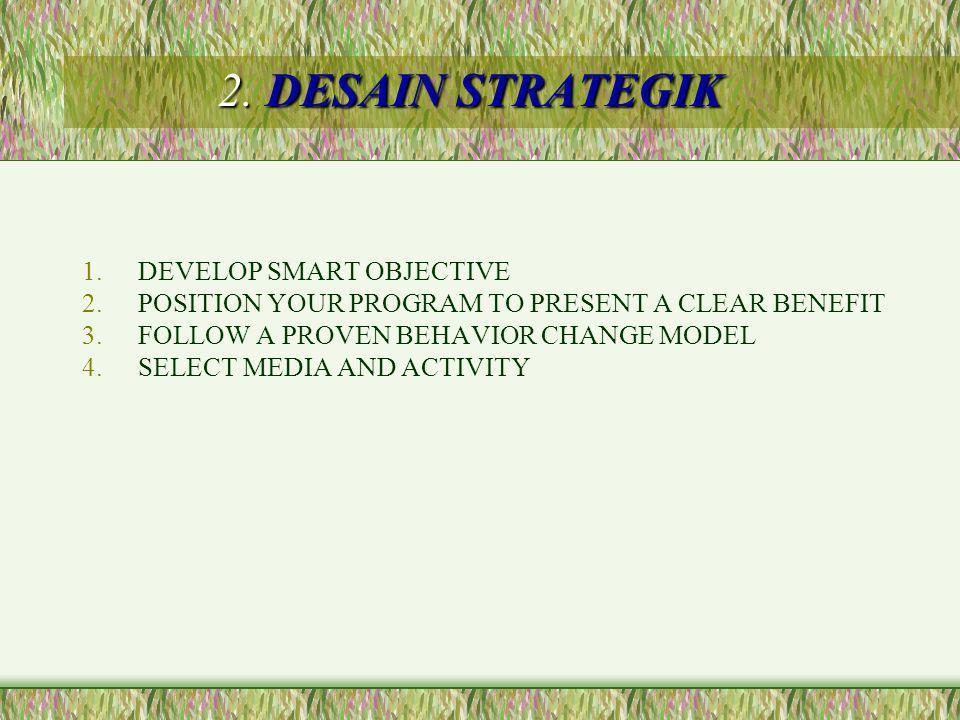 Tujuan SMART –Specific, Measurable, Appropriate, Realistic, Time bound Bagi tujuan menjadi –Tujuan jangka pendek –Tujuan jangka menengah –Tujuan jangka panjang Sesuaikan dengan program yang pernah ada