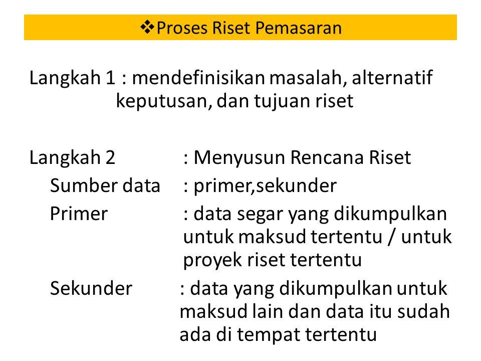  Proses Riset Pemasaran Langkah 1 : mendefinisikan masalah, alternatif keputusan, dan tujuan riset Langkah 2 : Menyusun Rencana Riset Sumber data : primer,sekunder Primer : data segar yang dikumpulkan untuk maksud tertentu / untuk proyek riset tertentu Sekunder : data yang dikumpulkan untuk maksud lain dan data itu sudah ada di tempat tertentu