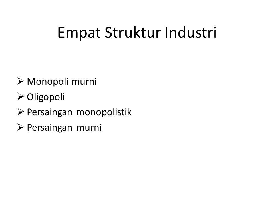 Empat Struktur Industri  Monopoli murni  Oligopoli  Persaingan monopolistik  Persaingan murni