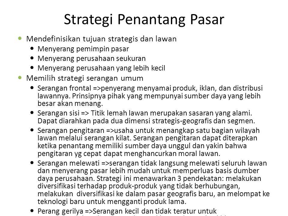 Strategi Penantang Pasar Mendefinisikan tujuan strategis dan lawan Menyerang pemimpin pasar Menyerang perusahaan seukuran Menyerang perusahaan yang lebih kecil Memilih strategi serangan umum Serangan frontal =>penyerang menyamai produk, iklan, dan distribusi lawannya.