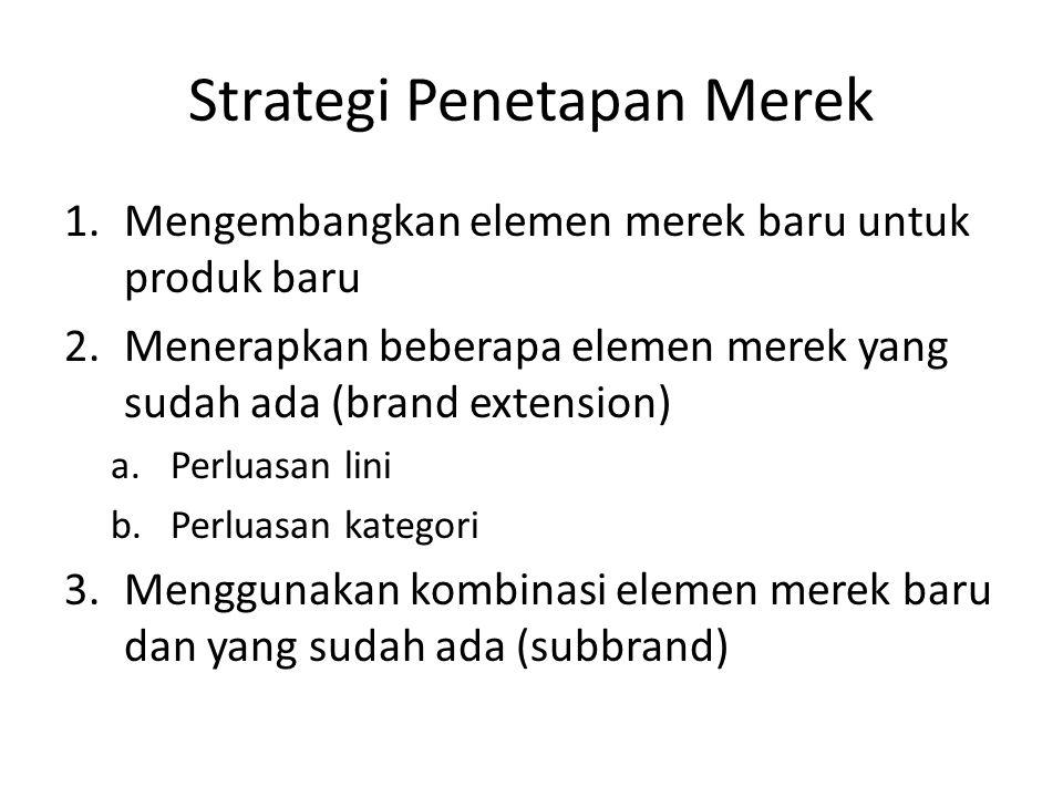 Strategi Penetapan Merek 1.Mengembangkan elemen merek baru untuk produk baru 2.Menerapkan beberapa elemen merek yang sudah ada (brand extension) a.Perluasan lini b.Perluasan kategori 3.Menggunakan kombinasi elemen merek baru dan yang sudah ada (subbrand)