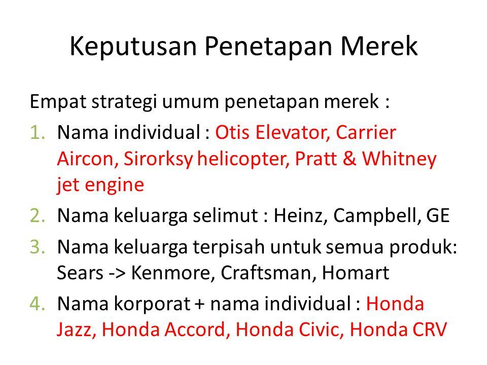 Keputusan Penetapan Merek Empat strategi umum penetapan merek : 1.Nama individual : Otis Elevator, Carrier Aircon, Sirorksy helicopter, Pratt & Whitney jet engine 2.Nama keluarga selimut : Heinz, Campbell, GE 3.Nama keluarga terpisah untuk semua produk: Sears -> Kenmore, Craftsman, Homart 4.Nama korporat + nama individual : Honda Jazz, Honda Accord, Honda Civic, Honda CRV