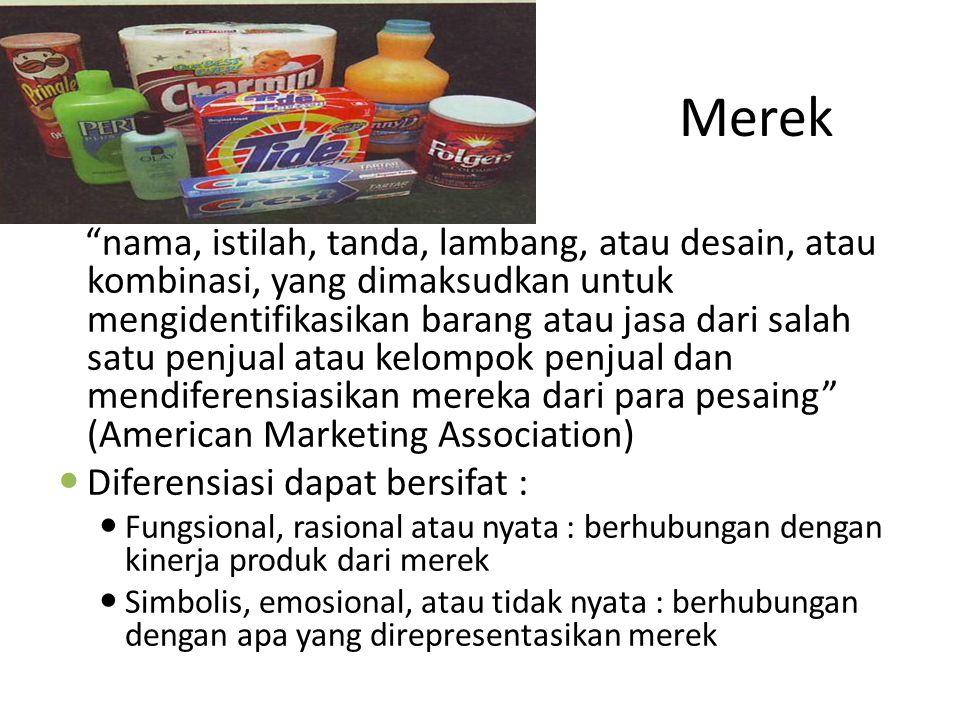 """Merek """"nama, istilah, tanda, lambang, atau desain, atau kombinasi, yang dimaksudkan untuk mengidentifikasikan barang atau jasa dari salah satu penjual"""