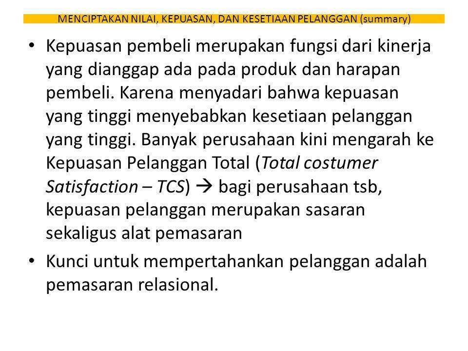 MENCIPTAKAN NILAI, KEPUASAN, DAN KESETIAAN PELANGGAN (summary) Kepuasan pembeli merupakan fungsi dari kinerja yang dianggap ada pada produk dan harapa