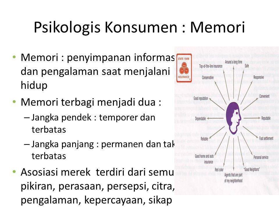 Psikologis Konsumen : Memori Memori : penyimpanan informasi dan pengalaman saat menjalani hidup Memori terbagi menjadi dua : – Jangka pendek : tempore