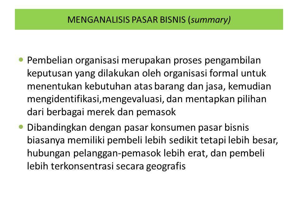 MENGANALISIS PASAR BISNIS (summary) Pembelian organisasi merupakan proses pengambilan keputusan yang dilakukan oleh organisasi formal untuk menentukan