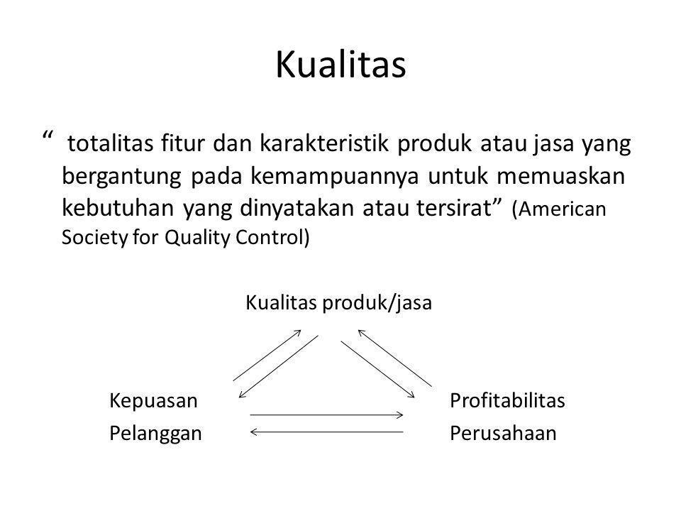"""Kualitas """" totalitas fitur dan karakteristik produk atau jasa yang bergantung pada kemampuannya untuk memuaskan kebutuhan yang dinyatakan atau tersira"""