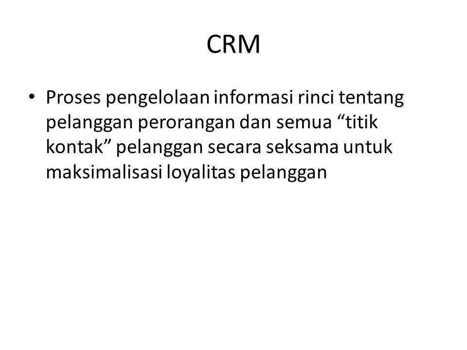 """CRM Proses pengelolaan informasi rinci tentang pelanggan perorangan dan semua """"titik kontak"""" pelanggan secara seksama untuk maksimalisasi loyalitas pe"""